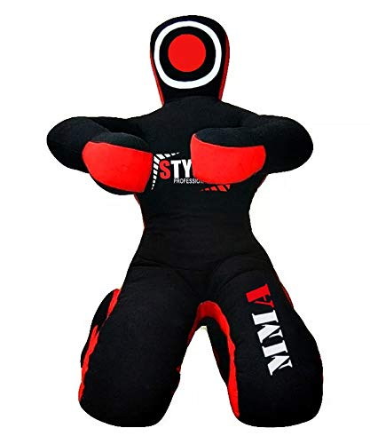 MMA Grappling Dummies BJJ Wrestling - Brazilian Jiu Jitsu, Mixed Martial Arts, Boxing, Judo Karate Training Dummy - Sitting - Black - Blue - Red - Yellow (Black)