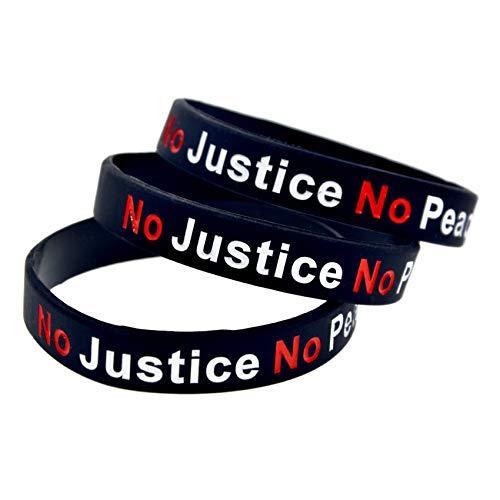 HSJ 10 Unids Sin Justicia Ninguna Paz No Policía Racista Pulsera De Silicona Pulsera Anti-Racismo Inspira Perfectamente Fitness, Baloncesto, Búsqueda De Deportes, Ejercicio Y Tareas