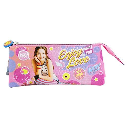Disney Soy Luna Enjoy Love Estuche Portatodo con 3 Cremalleras Escolar Làpices de Colores Necesser