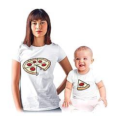 Idea Regalo - Shirtgeil Coppia Maglie per Mamma e Figlio/Figlia Divertente - Pizza Bambini Bianco 6-12 Mesi/Mamma Bianco Large