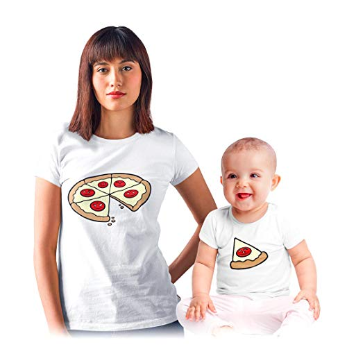 Shirtgeil Coppia Maglie per Mamma e Figlio-Figlia Divertente - Pizza Bambini Bianco 12-18 Mesi-Mamma Bianco Small