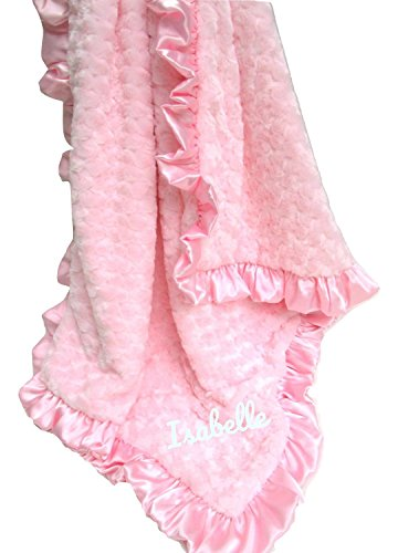 MinkyBabyGifts Minky Baby Blanket Pink Rosebud Swirl, Other Colors Available