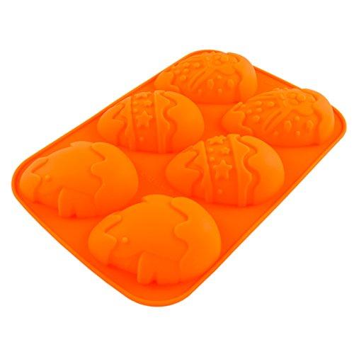 Silikonform mit Ostereiern, Kuchen, Muffins, Creme-Füllung, Oster-Fest, 6 detailreiche Ostereierformen, Oster-Frühstück, Back-Form, Süßigkeiten, Nachtisch, Lamm, Hase, Karnickel, Farbe: Orange