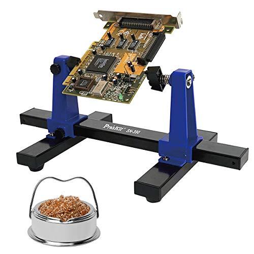 Ajustable del soporte para tarjetas de circuito impreso con el limpiador de Punta de soldadura de hierro y Asamblea soporte de pinzas 360 grados de rotación de la herramienta de reparación de PCB