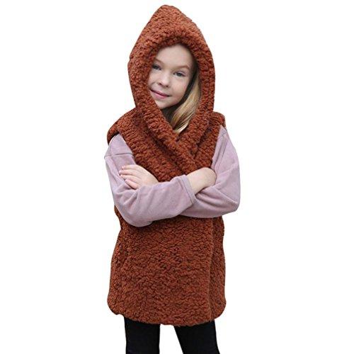 URSING Faux Pelz Weste Baby Mädchen Kapuzenmantel Kid Herbst Winter Warm Outwear Super süße Prinzessin ärmellose Kleidung Fleece Covered Button übergangsjacke Dicken Hoodies Mantel (120CM, Braun)