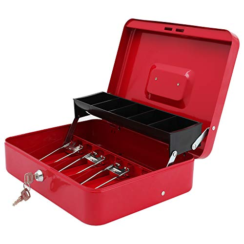 """Xydled Cash Box with Money Tray and Key Lock,Tiered,4 Bill / 5 Coin Slots,11.8"""" x 9.5"""" x 3.5"""""""