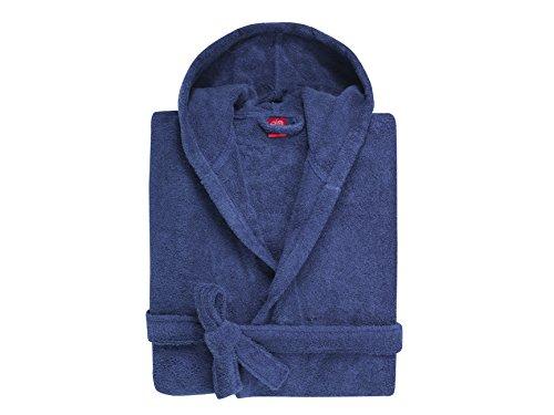 BLANC CERISE Peignoir Capuche Enfant - Coton peigné 450 g/m² Bleu Indigo 10 Ans