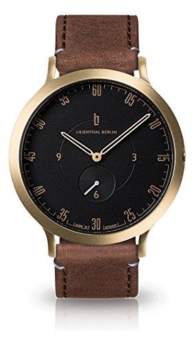 Lilienthal Berlin - Made in Germany - Die neue Uhr aus Berlin. Modell L1, Edelstahl Gehaeuse (Gehäuse: gold / Zifferblatt: schwarz / Armband: braun, klein 37,5mm)