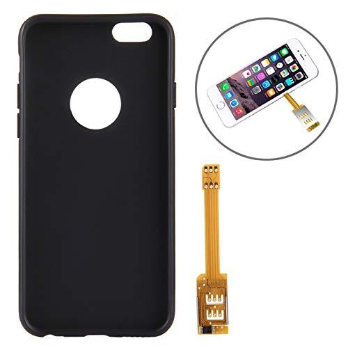BEIJING ♋ PROTECTIVECOVER + Kumishi for iPhone 6s Adaptador de Tarjeta SIM Dual con Cubierta de Carcasa Trasera De Caja de protección de la Moda (Color : Negro)
