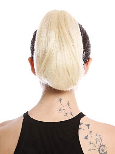 WIG ME UP - 622-V-613 Postiche couette queue de cheval courte lisse mais volumineuse blond platine 25 cm