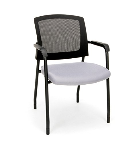 OFM 424-801 Model 424 Mesh Chair Guest/Reception Chair with Arms, 33.25' Height, 22.5' Wide, 24' Length, Gray, Black Trim, Black Leg