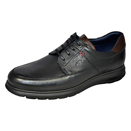 Fluchos   Zapato de Hombre   Zeta F0602 Soft Negro Zapato   Zapato de Piel de Vacuno de Primera Calidad   Cierre con Cordones   Piso Ligero de Goma EVA dotado de la tecnología Shock Absorber