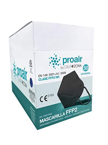 Caja 50 Mascarillas FFP2 homologadas CE 2163, color negro, filtrado de 5 capas - ProAir - Mascarilla protección respiratoria