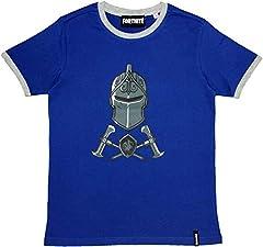 Epic Gamess Camiseta Fortnite Casco y Armas Azule - Camiseta Fortnite Manga Corta