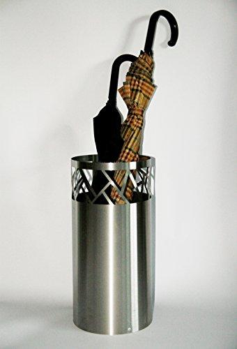 Regenschirmständer Design Fence, 49 x Ø 22,5 cm, Edelstahl mattiert, Marke: Szagato, Made in Germany (Schirmständer, Schirmhalter, Regenschirmhalter gebürstet)