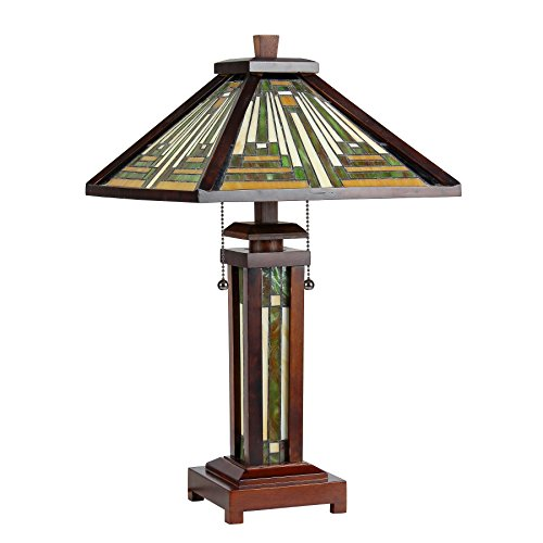"""Chloe CH33359WM15-DT3 15"""" Shade Tiffany-Style 3 Light Mission Double Lit Wooden Table Lamp"""