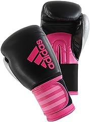 adidas Hybrid 100 -Guantes de boxeo, mujer, Rosa/Negro (Schwarz/ Pink), 10 oz