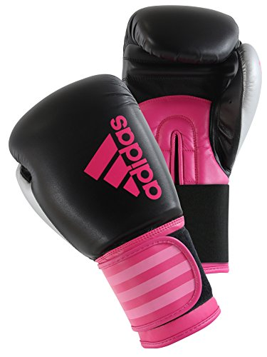 adidas Hybrid 100 Dynamic Fit Boxing Gloves, Black/Hot Pink, 12 oz