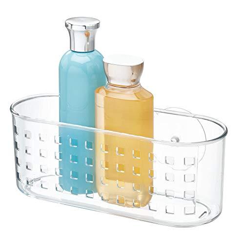iDesign Organizador de baño con ventosas, cesta de ducha grande de plástico para instalar sin taladro, jabonera de baño con agujeros de drenaje, transparente