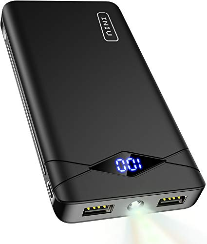 INIU 10000 mAh Banco de energía portátil con Pantalla LED Ultra compacta con 2 Puertos USB y Cargador de batería Externa Compatible con iPhone X 8 7 6S 6 Plus Samsung HTC teléfono Celular