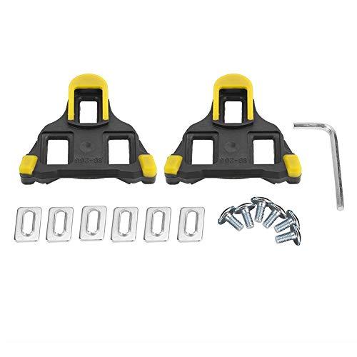 VGEBY1 1 Paar Bike Cleats, Selbstsichernde Fahrrad Pedal Cleats Radfahren Pedal Adapter mit Schrauben, Unterlegscheiben, Schraubenschlüssel für Rennrad Mountainbike(Gelb)