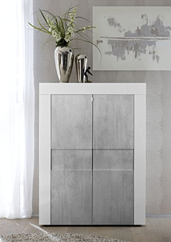 Arredocasagmb.it Mobile Contenitore 2 Ante Moderno Bianco Lucido Soggiorno Ante Effetto Cemento Madia Buffet con sportelli Design ESO 04