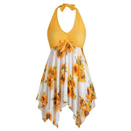 Women's Tankini Swimsuits Plus Size Front Tie Swim Top Crossback Modest Flowy Swimdress Tummy Control - Limsea Black