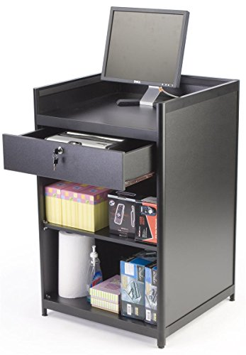 Black Laminate Cash Register Stand with Locking Drawer and Adjustable Shelf, 24 x 38 x 23-3/4-Inch,