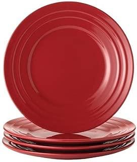Rachael Ray Dinnerware Double Ridge Salad Plate Set, 4-Piece, Red