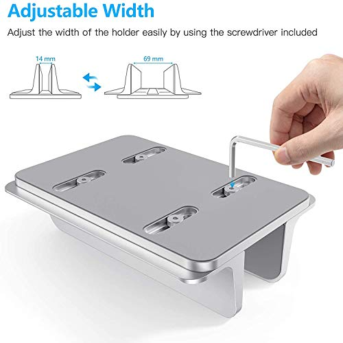 Vertical Laptop Stand Holder, OMOTON Desktop Aluminum MacBook Stand with Adjustable Dock Size, Fits All MacBook, Surface, Chromebook and Gaming Laptops (Up to 17.3 inches), Silver Photo #5