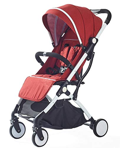 NOCHX Lightweight stroller, compact travel stroller, foldable one-handed stroller, five-point seat belt, very suitable for airplanes,Red wine