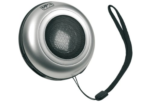 Cellular Line MP 3 SPEAKERSIL MP3 Lautsprecher mit Superbass, 3,5mm Klinkenanschluss, silber für iPod, iPhone, Blackberry