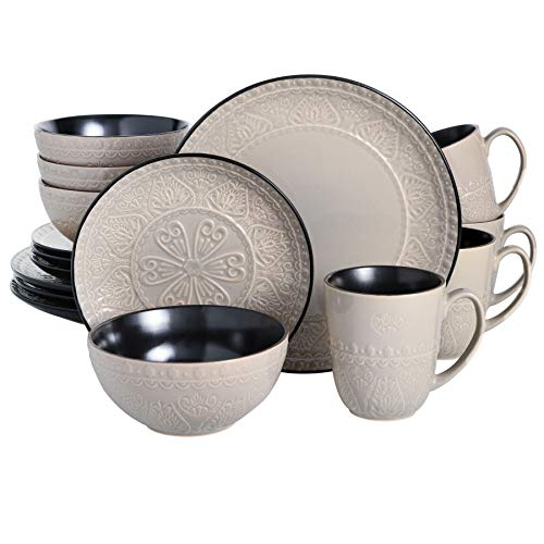 Gibson Elite Milanto 16 Piece Dinnerware Set, Grey
