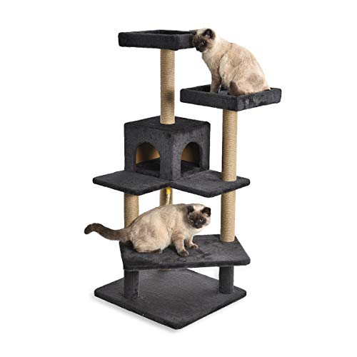 AmazonBasics – Katzen-Kratzbaum mit vielen Plattform-Stufen, 61 x 56 x 130 cm, dunkelgrau