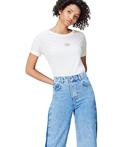 find. S17AM016 t shirt damen, Weiß (White), 36 (Herstellergröße: Small)