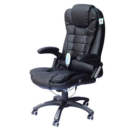 High rugmassage bureaustoel, kunstleer regelbare verwarming uitvoerende bureaustoel, ergonomische bureaustoel baas lift stoel, geschikt for kantoor en studie QIANGQIANG