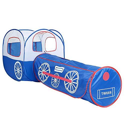 ONLYU Tipi Niños Carpa Cubierta, 2 En 1 Juego De Los Niños Set Carpas Boys' Casa del Juguete para Dormir, Tienda Al Aire Libre Tienda Azul Tren De Arrastre del Túnel para Los Niños, Azul