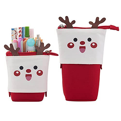 Delisouls Estuche para lápices con diseño de dibujos animados, estuche para lápices con temática navideña, organizador de papelería plegable para niños y niñas