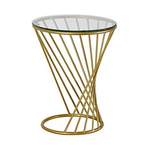 YUN-X Tische Tee Tisch Couchtisch Eisen Glas Goldener Runder Tisch Einfache Moderne Kreative Beistelltisch Wohnzimmer Sofa Ecktisch Balkon Freizeit Tisch Nachttisch (Farbe : A, größe : 50x60cm)