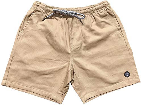 Official Molokai Shorts Elastic Waist Walkshorts Drawstring (Khaki, Large)