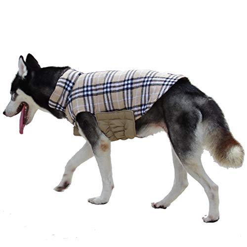 ThinkPet Cappotti e Giubbotti per Cani Cappottino Cane Reversibile - Cappotto a Quadri Stile Britannico Cappotto Invernale Cane(Beige Plaid,XS)