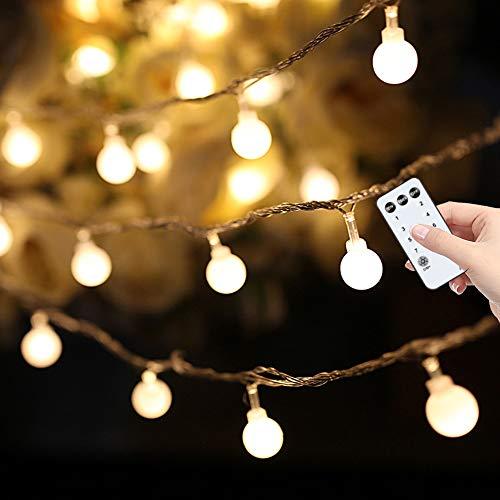 Yinuo Candle Kugel Lichterketten,15M Led Lichtkette mit Speicherfunktion,Weihnachtslicht Außen und Innen mit Stecker,ideale Partydekoration,Kinderzimmer,Balkone,Weihnachtslichter etc.