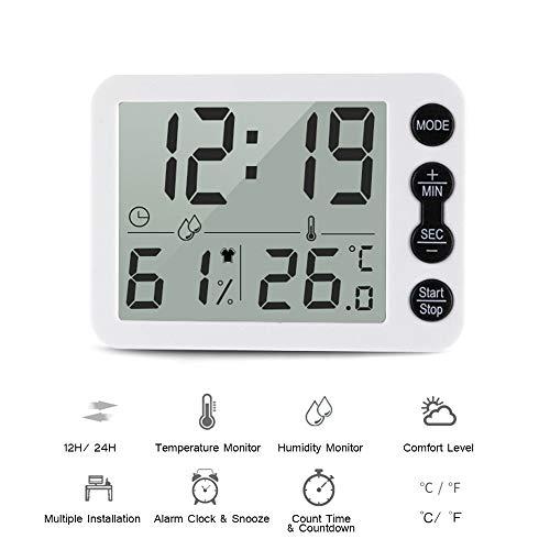 Festnight Digitale thermometer & hygrometer met klok LCD-scherm ° F selecteerbare countdown-timer nauwkeurige temperatuur-vochtigheidsmonitor voor op kantoor thuis