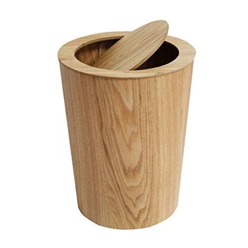 Won-Hom Abfalleimer Schwingdeckeleimer, Mit Deckel Treteimer Holz Mülleimer Nördlichen Europäischen-Stil Einfache Abfallbehälter-A