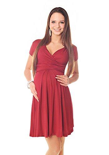 Purpless Damen Sommerkleid Umstandskleid Schwangerschaft Kleid V-Ausschnitt Kurzarm 8417 (42, Burgundy)