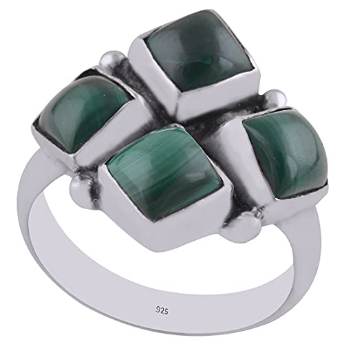 925 Sterling Silver Green Natural Malachite Women's Round, Square Shape Ring Band