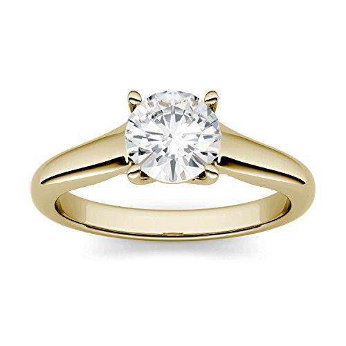 Charles & Colvard Forever One anillo de compromiso - Oro amarillo 14K - Moissanita de 6.5 mm de talla redonda, 1 ct. DEW, talla 14,5