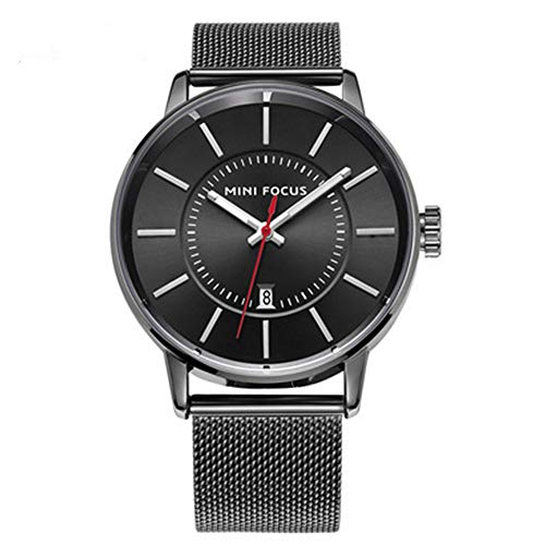 Luxury Men's Watch Analog Quartz Stainless Steel Strap Large Dial Watch High-end Simple Business Simple Sports Watch Waterproof Precision Fashion Anniversary (Black)