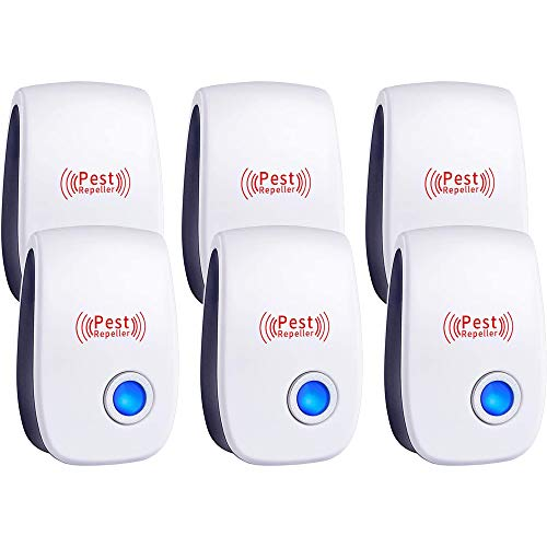 Ultrasonic Pest Repeller 6 Packs, Electronic Plug in Sonic Repellent pest Control for Bugs Roaches Insects Mice Spiders Mosquitoes
