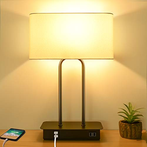 3-Way Dimmable Touch Control Table Lamp with 2 USB Ports and AC Power Outlet Modern Bedside Nightstand Lamp Fabric Shade and Metal Base for Guestroom Bedroom Living Room Hotel LED Bulb Included White